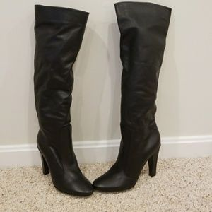 Jimmy Choo Black Leather Tall Size 39.5 Boots